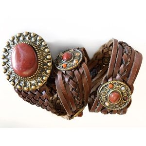 Accessories - RED BROWN LEATHER CONCHO WESTERN RODEO BELT S